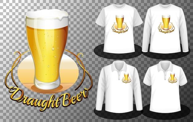 Logotipo do copo de cerveja com conjunto de diferentes camisas com tela do logotipo do copo de cerveja nas camisetas Vetor grátis