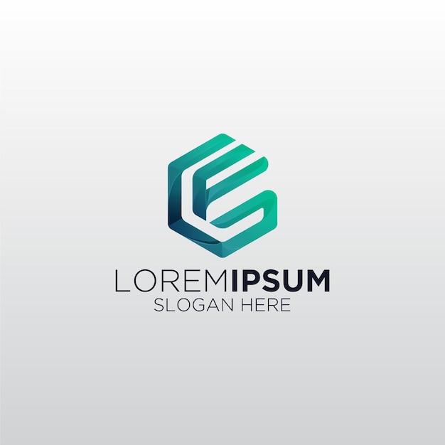 Logotipo do criativo em gradiente alphabet fg Vetor Premium