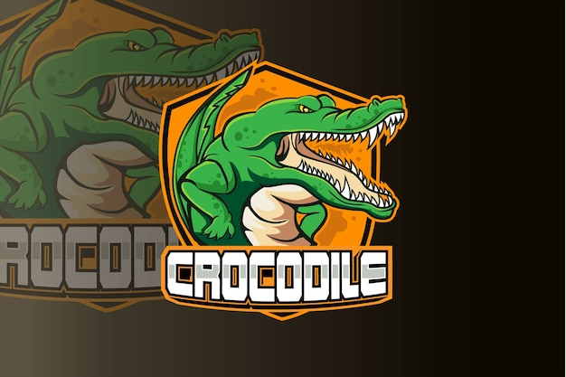 Logotipo do crocodile gamer mascot esport Vetor Premium