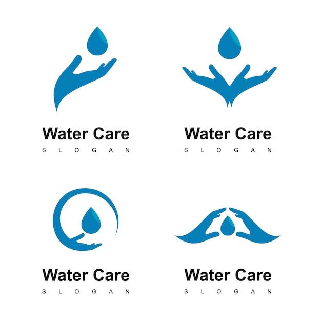 Logotipo do cuidado da água Vetor Premium