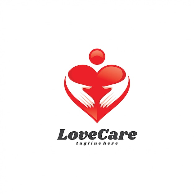 Logotipo do cuidado do amor da mão humana do coração Vetor Premium