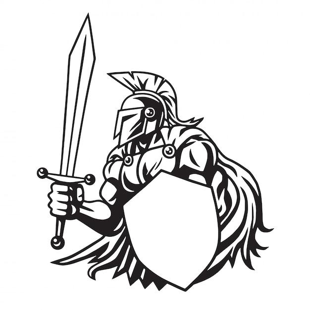 Logotipo do desenho de linha do guerreiro espartano Vetor Premium