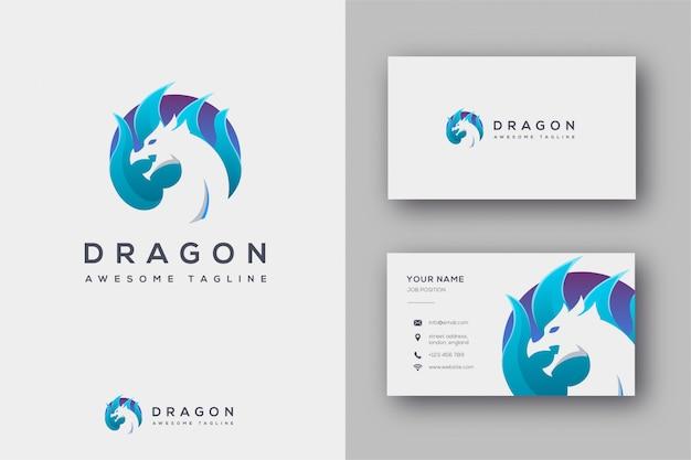 Logotipo do dragão e cartão de visita Vetor Premium