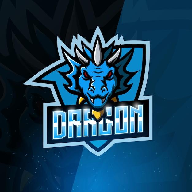 Logotipo do dragon mascot esport Vetor Premium