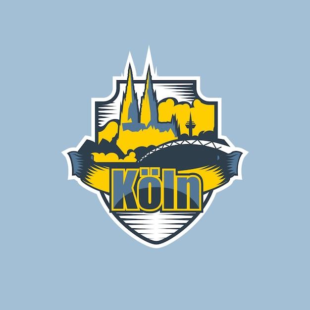 Logotipo do emblema da cidade de colônia em duas cores. Vetor Premium