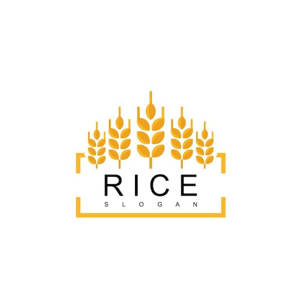 Logotipo do emblema de arroz Vetor Premium