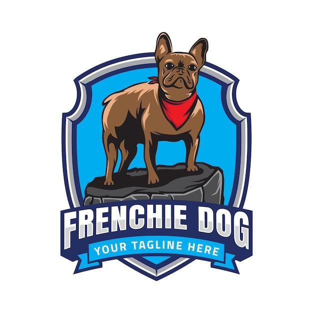 Logotipo do emblema de buldogue francês Vetor Premium