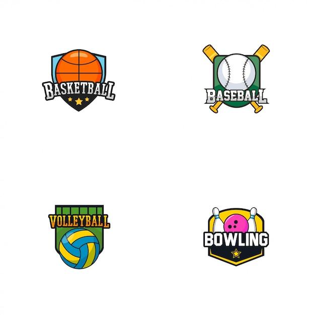 Logotipo do emblema de esportes Vetor Premium