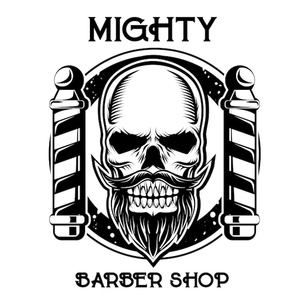 Logotipo do emblema de loja de barbeiro preto e branco Vetor Premium