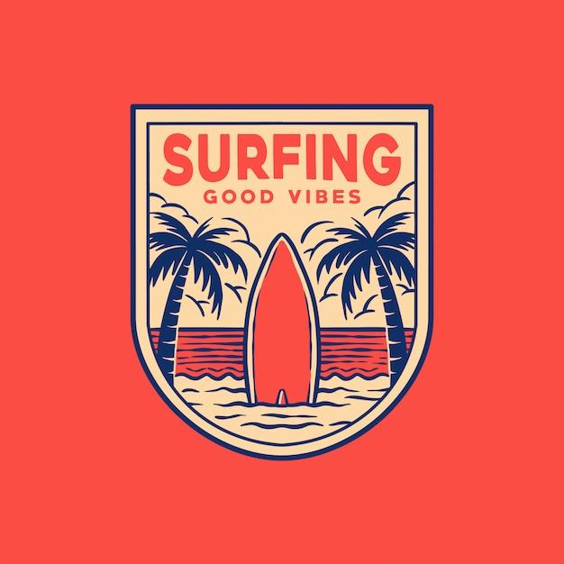Logotipo do emblema de surf Vetor Premium