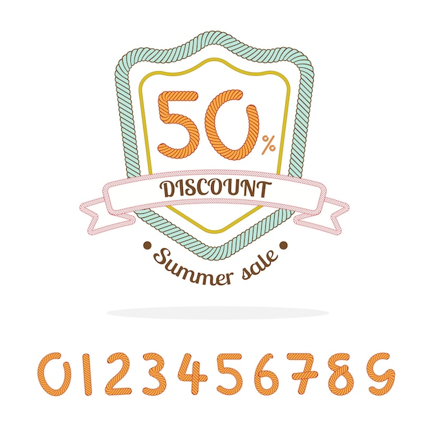 Logotipo do emblema de venda de corda, bônus: número de 0-9 para a porcentagem de venda feita por você, elemento de marketing Vetor Premium