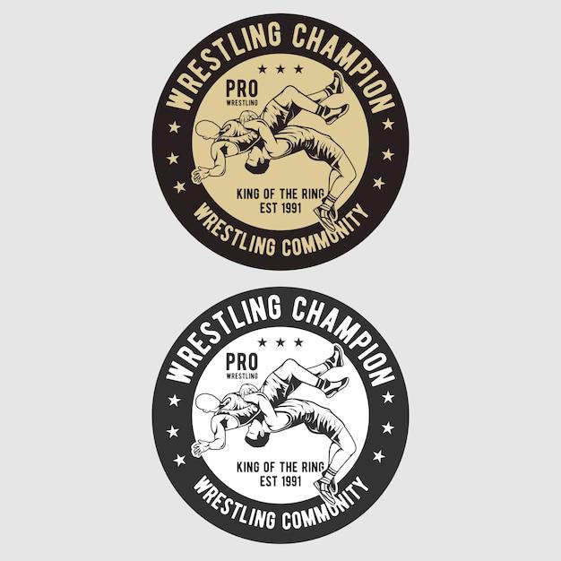 Logotipo do emblema de wrestling Vetor Premium