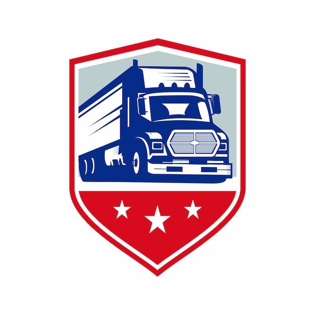 Logotipo do emblema do caminhão Vetor Premium
