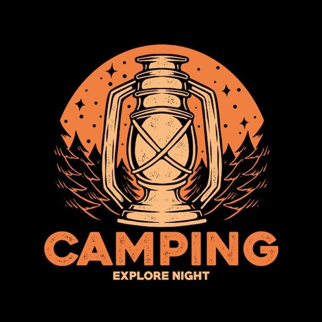 Logotipo do emblema do camping Vetor Premium