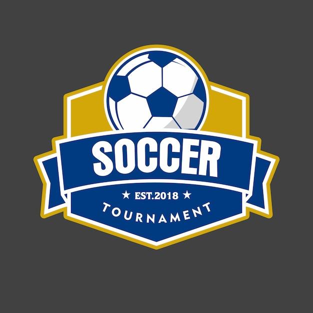 Logotipo do emblema do futebol Vetor Premium