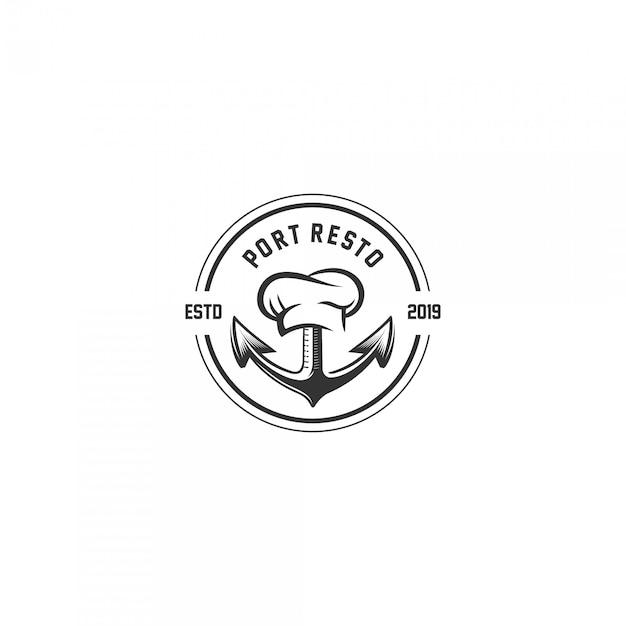 Logotipo do emblema do vintage restaurante porto Vetor Premium
