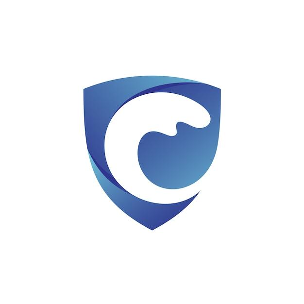 Logotipo do escudo de ondas Vetor Premium
