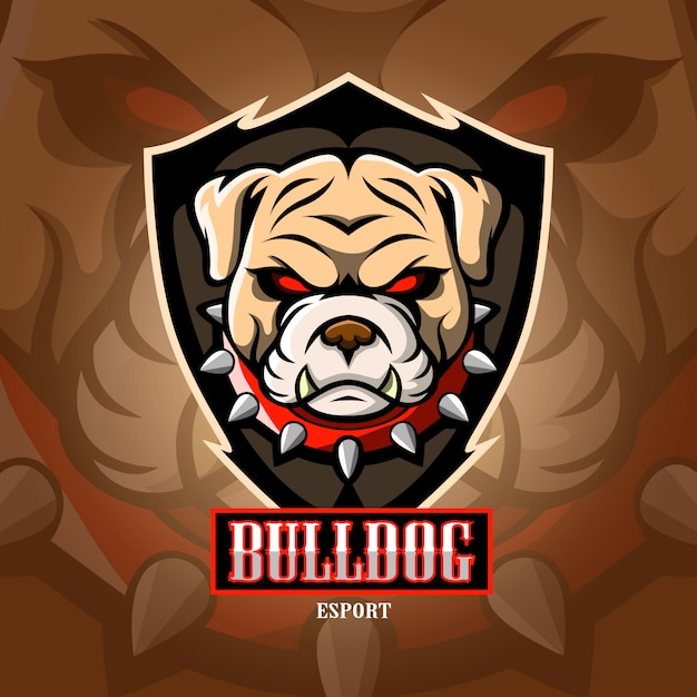 Logotipo do esport mascote bulldog. Vetor Premium