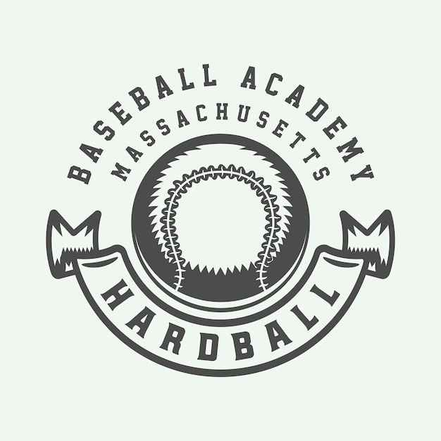 Logotipo do esporte de beisebol vintage Vetor Premium