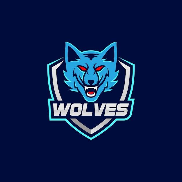 Logotipo do esporte de mascote de lobos Vetor Premium