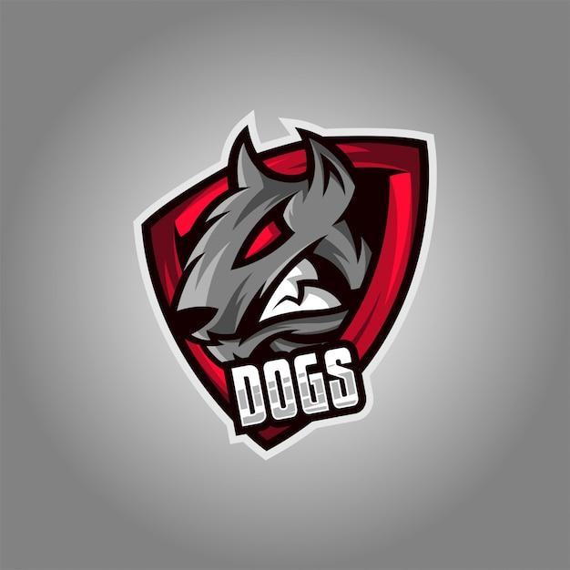 Logotipo do esporte do cão Vetor Premium