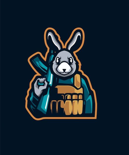 Logotipo do esporte do coelho do artilheiro e Vetor Premium