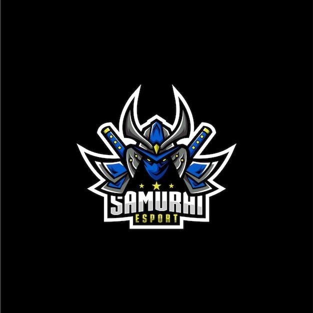 Logotipo do esporte samurai Vetor Premium