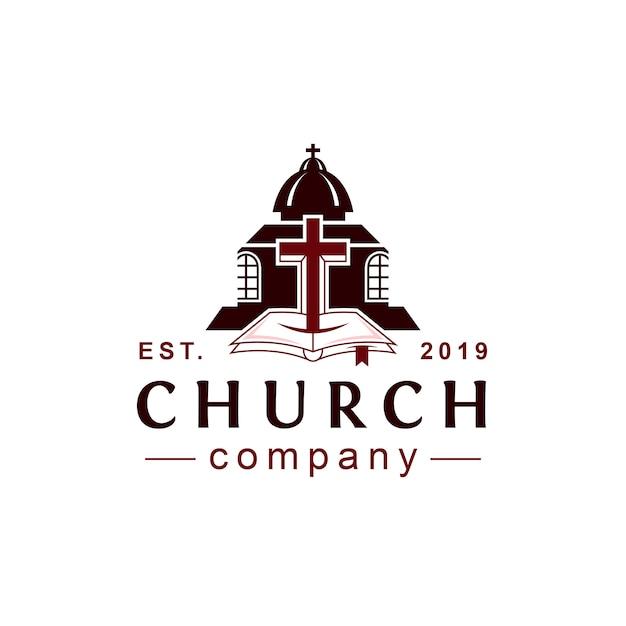 Logotipo do estilo clássico da igreja Vetor Premium