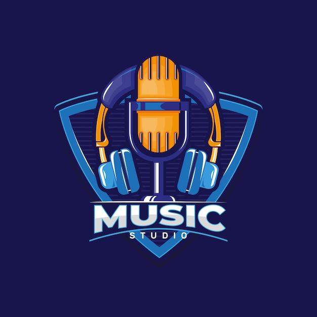 Logotipo do estúdio de música. Vetor Premium