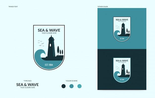 Logotipo do farol com fluxo ondulado, logotipo do mar criativo para o seu negócio Vetor Premium