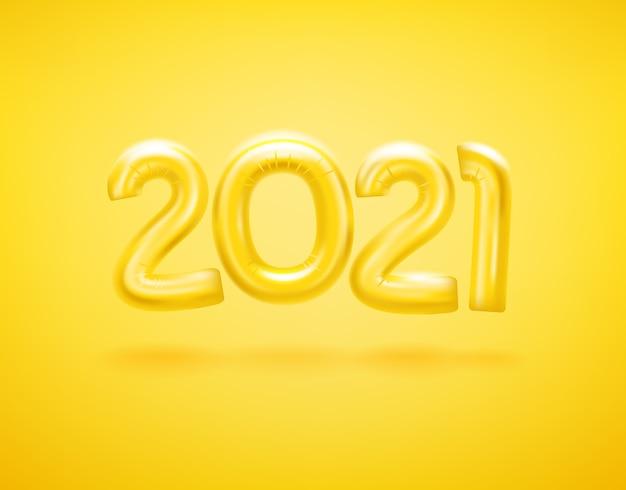 Logotipo do feliz ano novo 2021 com balões Vetor Premium