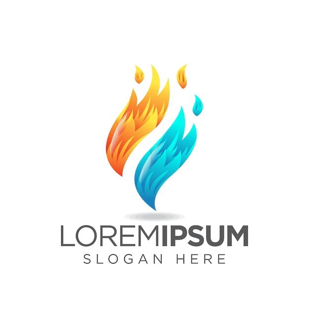 Logotipo do fogo f Vetor Premium
