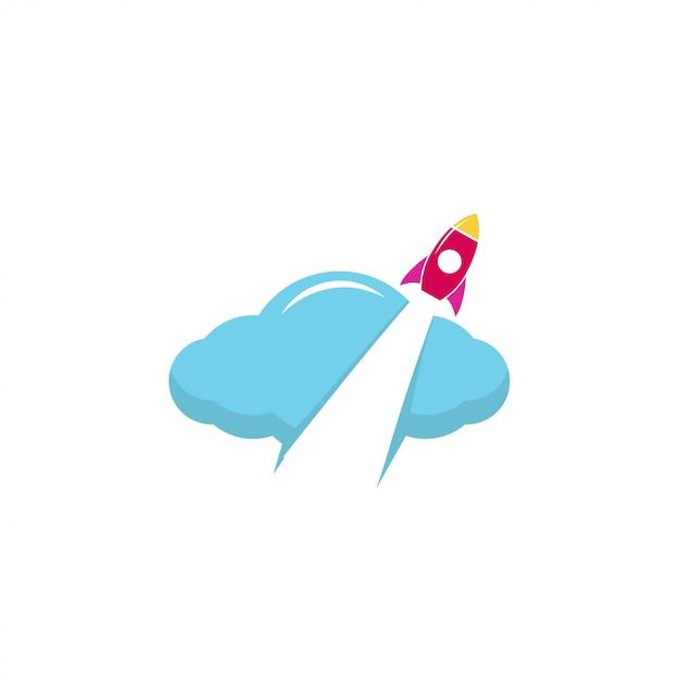 Logotipo do foguete Vetor Premium