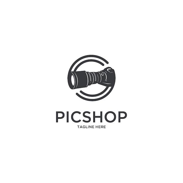 Logotipo do fotógrafo da câmera da loja do pic Vetor Premium