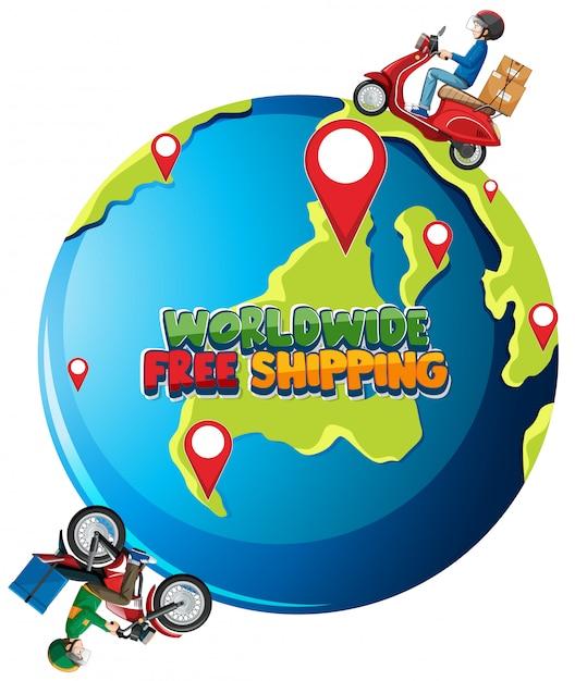 Logotipo do frete grátis para todo o mundo com o homem da bicicleta ou mensageiro andando pela terra Vetor grátis