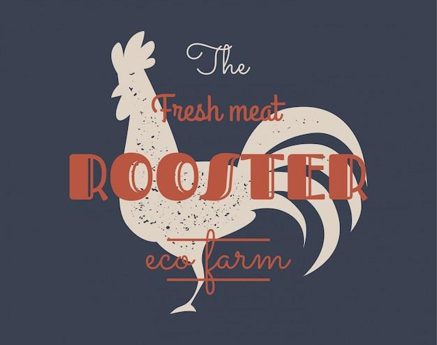 Logotipo do galo do vintage para o negócio da leiteria e da carne, açougue, mercado. Vetor Premium