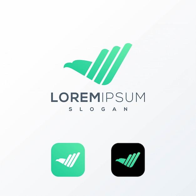 Logotipo do gráfico de aves Vetor Premium