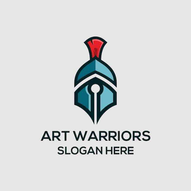 Logotipo do guerreiro da arte Vetor Premium