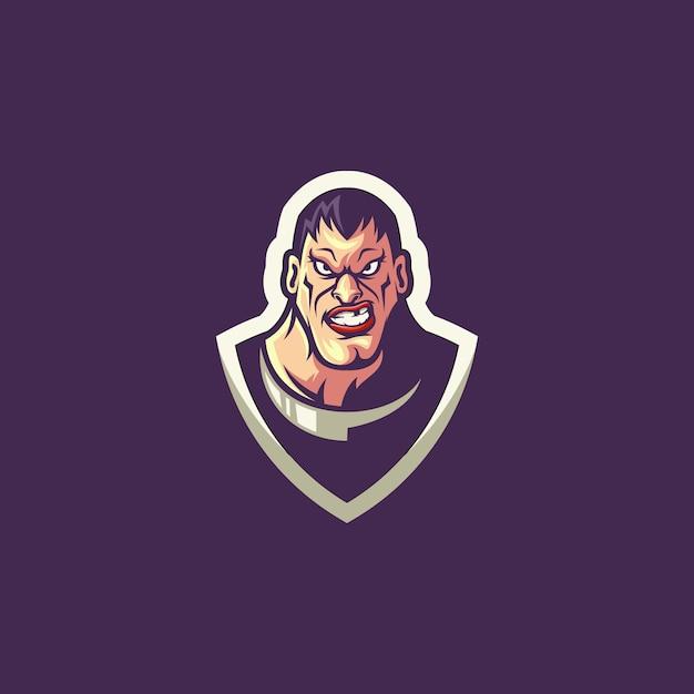 Logotipo do herói em roxo Vetor Premium