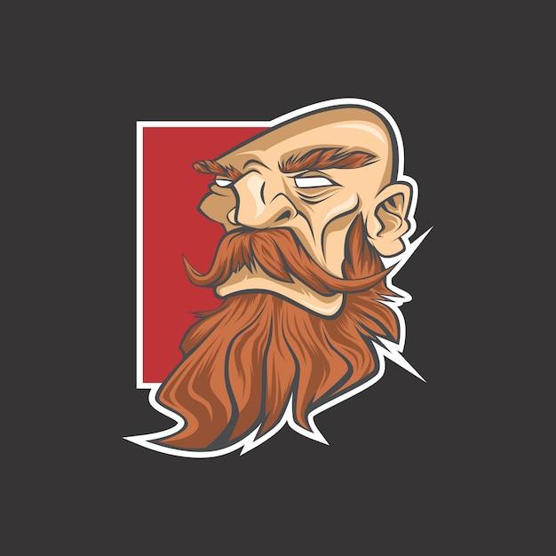 Logotipo do homem da barba Vetor Premium