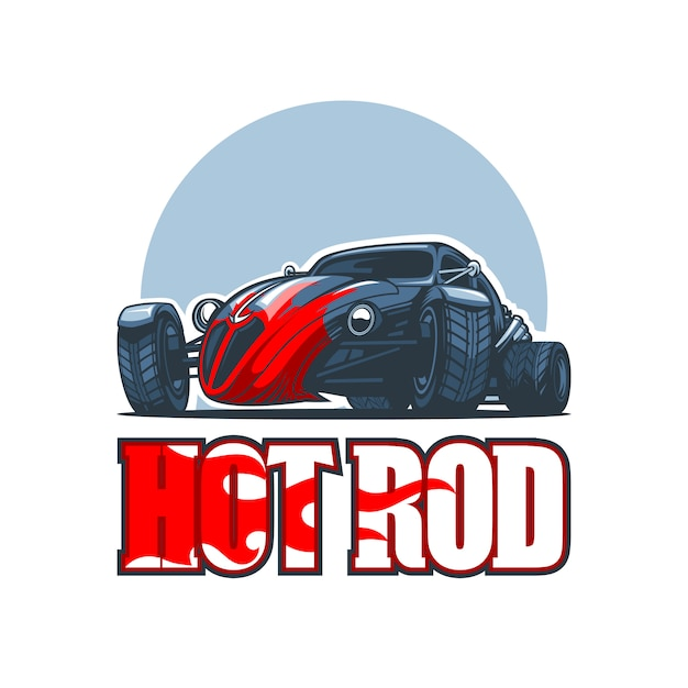 Logotipo do hot rod com carros antigos. Vetor Premium