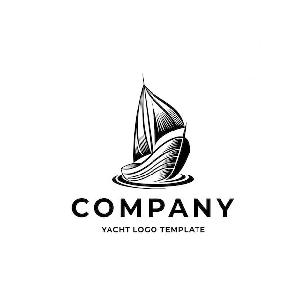 Logotipo do iate do vintage Vetor Premium