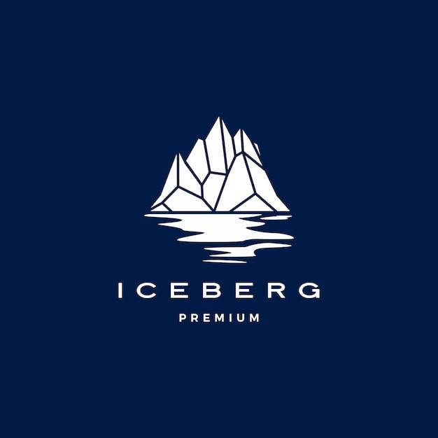 Logotipo do iceberg geométrico em azul escuro Vetor Premium