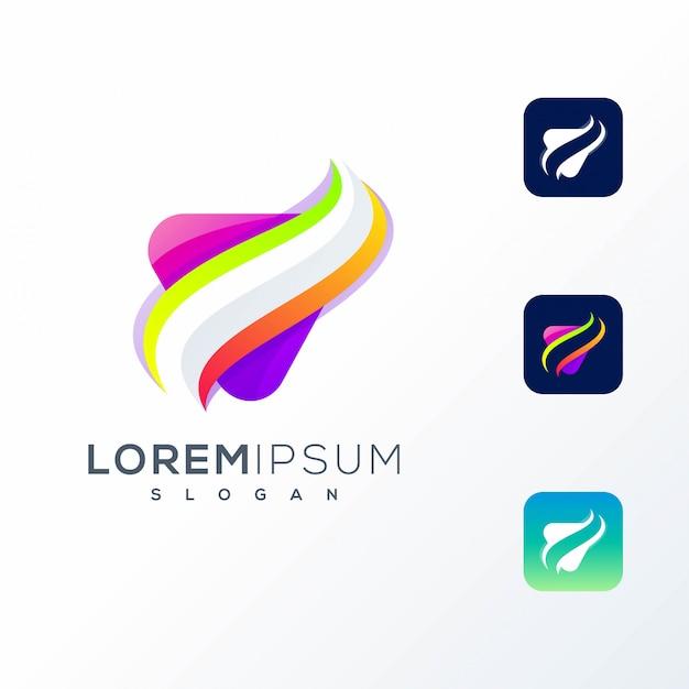 Logotipo do ícone colorido abstrato Vetor Premium