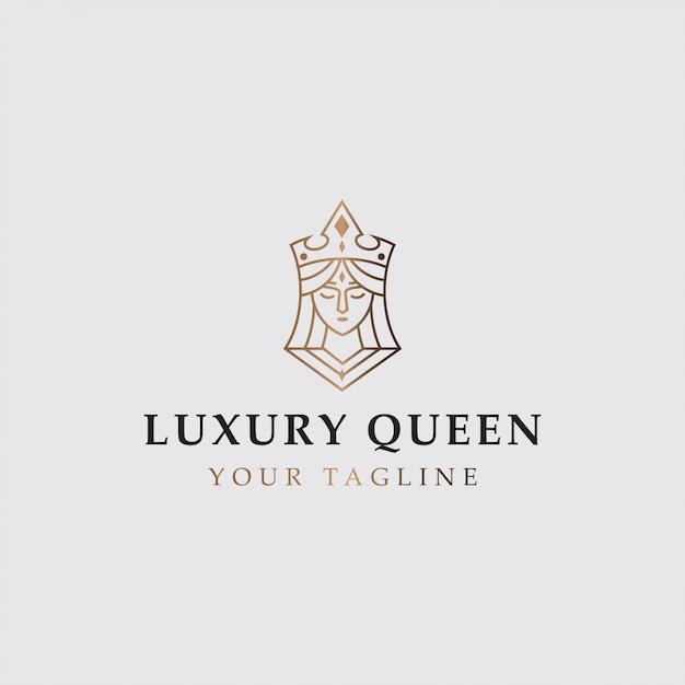 Logotipo do ícone da rainha de luxo Vetor Premium
