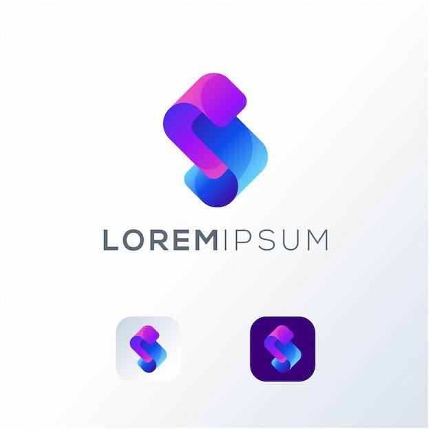 Logotipo do ícone de letra s Vetor Premium