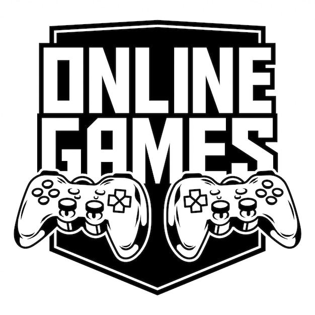 Logotipo do ícone do esporte de gamepads para jogar videogames de fliperama online para jogadores e controlar o jogo. Vetor Premium