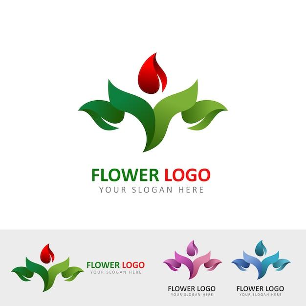 Logotipo do jardim de flor Vetor Premium