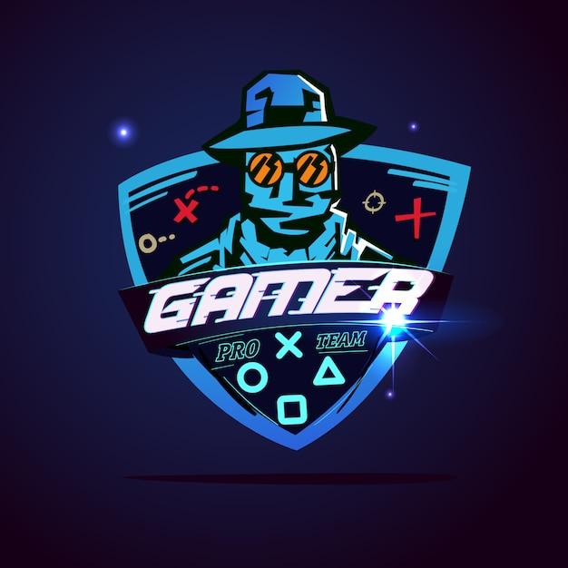 Logotipo do jogador ou conceito de hacker Vetor Premium