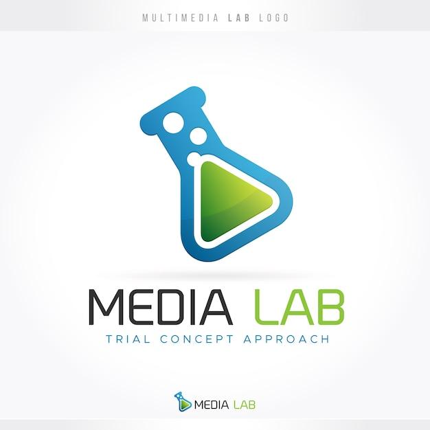 Logotipo do laboratório multimídia Vetor Premium